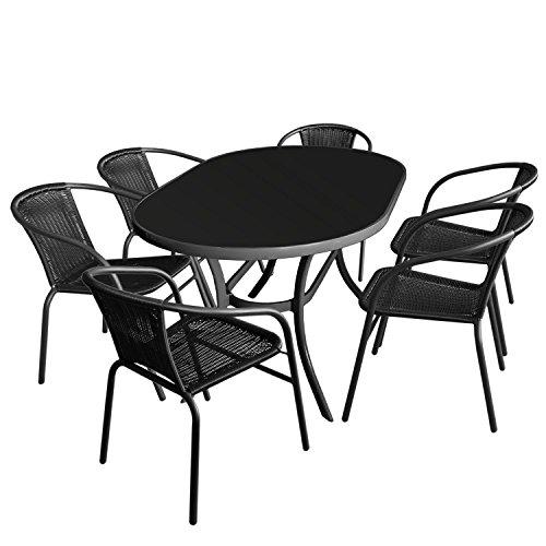7tlg. Gartengarnitur - Glastisch oval Gartentisch mit schwarzer Tischglasplatte 140x90cm + 6x Bistrostuhl mit schwarzer Polyrattanbespannung Stapelstuhl - Sitzgruppe Sitzgarnitur Gartenmöbel Terrassenmöbel