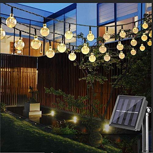 chterkette mit LED Kugel 10M 50 LEDs 8 Modi IP65 Wasserdicht Aussen Warmweiß Lichterkette mit Lichtsensor, Kristallbälle Beleuchtung Außen für Garten Terrasse Hof Haus Party ()