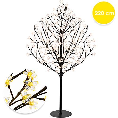 KESSER® Kirschblütenbaum 220 LED | 220cm Lichterbaum Indoor Outdoor Metallfuß Stabil | Weihnachten Beleuchtung Leuchtbaum Warmweiß