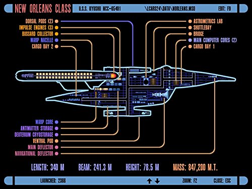 Der Museum Steckdose Charts von - lcars UFP New Orleans Class Starship - A3 Poster Druck