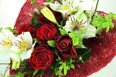 Rosenherz - Blumenstrauß mit Rosen im roten Sisalherz von Blumenversand Rosenbote - Du und dein Garten