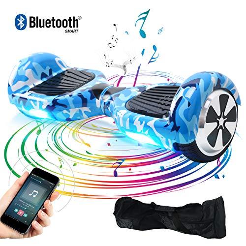BEBK Hover Board Smart Self Balance Scooter con Bluetooth,Overboard con LED Autobilanciato Scooter Certificazione UL 2272,2 * 350W Motore (Camo Blue-BL-IT)