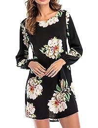Vestidos de Mujer Talla grande,Lenfesh Ocasional Vestidos de Floral Para Playa Moda Mini Vestido Corto de Verano Manga larga de…