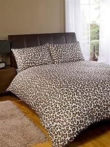 Parure housse de couette leopard marron chambre adulte 200 for Housse de couette leopard rose
