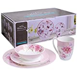 Geschirr-Set, 16-teilig, Retro-Porzellan-Geschirr mit Vogel- und Schmetterlingsdesign, mit Geschenkbox, porzellan, rose, 18 cm
