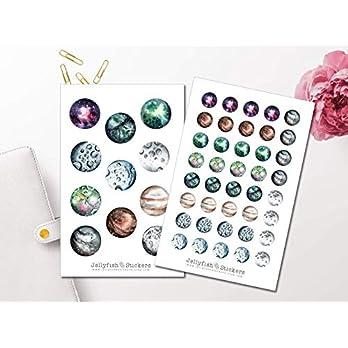 Planeten Sticker Set | Aufkleber Weltall | Journal Sticker | Sticker Erde | Sticker Mond