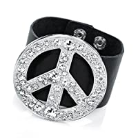 Rhodium Colour Crystal Peace Black Bracelet Size 6 CM MOTIF