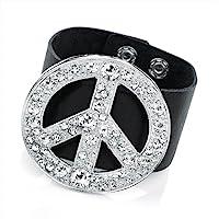 Rhodium Colour Crystal Peace Black Bracelet Size 6 CM MOTIF
