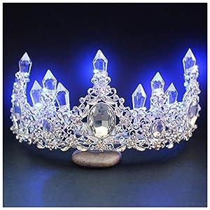 Ferrell Braut-Prinzessin Crown Tiara Glowing Rhinestone LED Licht Headwear Haar-Zusatz für Hochzeit