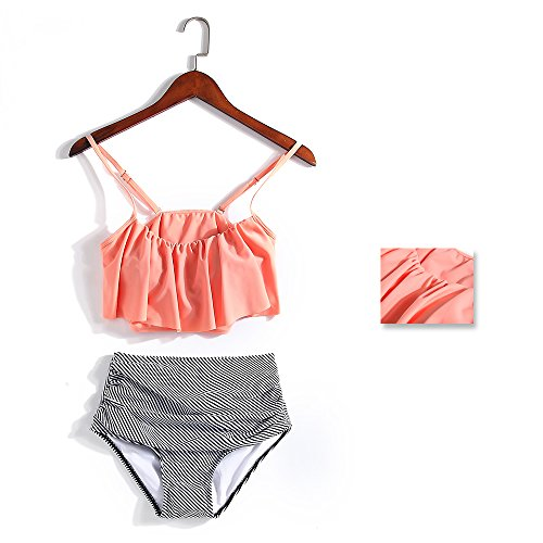 Fashion Swimsuit Women Falbala High-waisted Swimwear Bikini Set