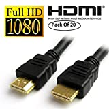 UNMCORE™ 1.5 Meter High Speed Male HDMI to HDMI Cable Cord Wire TV Lead 1.4V Ethernet 3D Full HD 1080p 3 Years Warranty (20 Pack)