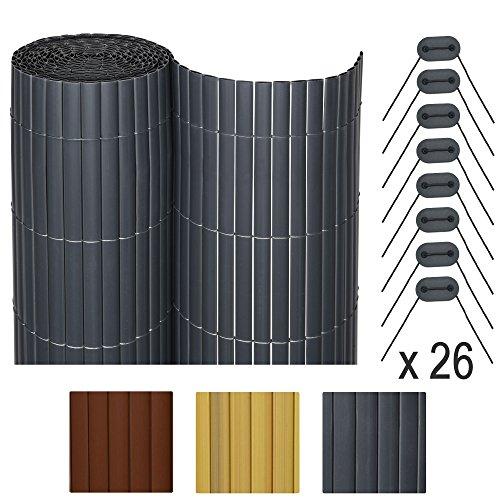 Sol Royal SolVision P78 - PVC Sichtschutz Zaun 140 x 400 cm Anthrazit stabiler Balkon & Garten Blickschutz & Windschutz (Zaun Smart)