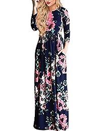Frauen-Blumendruck-Sleeveless Boho-Kleid-Dame-Abend-Partei-langes Maxi Kleid