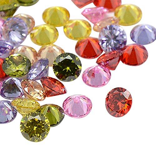 NBEADS 1000PCS zirconi cabochon, grado A, sfaccettato, Diamond, colore misto, 3x 2MM