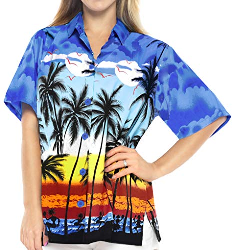 LA LEELA Hawaiian Shirt Blouse Women Short-Sleeved Holiday Vacation Buttons  Casual Work Aloha Azul W965 e9217a421b