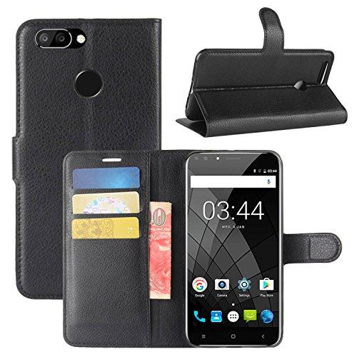 HualuBro Oukitel U22 Hülle, Premium PU Leder Leather Wallet HandyHülle Tasche Schutzhülle Flip Case Cover für Oukitel U22 Smartphone (Schwarz)