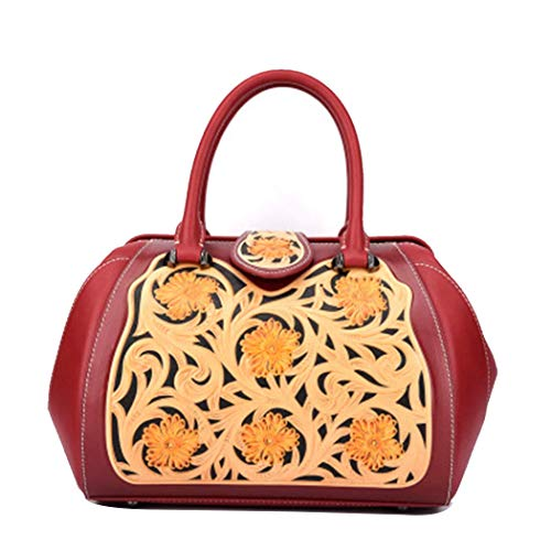 AQWS Geschnitzte Handtaschen chinesische Mode geprägt Damen große Tasche diagonal Handtasche Handtaschen Retro Blume Handtaschen - Geprägte Mode Handtasche