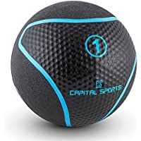 Capital Sports Medba 1 Balón medicinal 1kg (Adecuado para ejercicios de entrenamiento core, functional training y Cross-Training, goma negro)