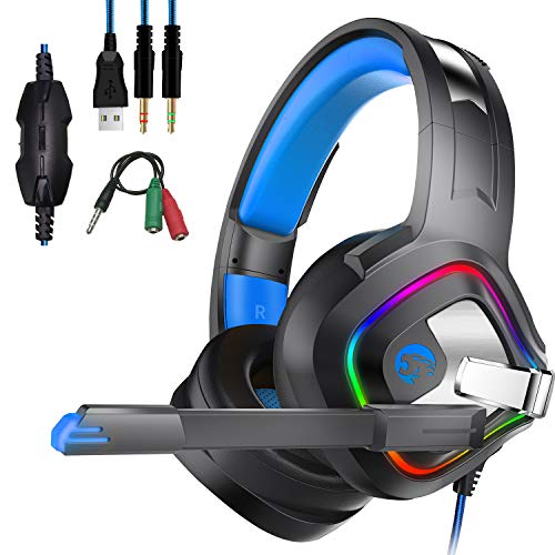 PS4 Xbox One Cuffie Gaming, Headset Auricolare Gioco Stereo con Microfono, Deep Bass, Noise Cancelling, Volume Controllo, LED light per PC, Mac, Tablet, Smartphone
