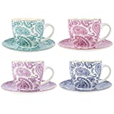 Set di 4 Oceano Indiano Teacups & piattini
