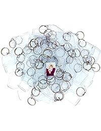 Kurtzy 100 Llaveros con Marco para Fotos Acrílico Transparente Llavero en Blanco de 3.4 cm x 2.4cm - Llavero Apto para Billetera para Insertar Fotos Personalizadas - Apto para Hombres y Mujeres