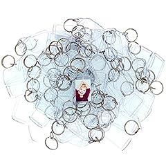 Idea Regalo - Kurtzy 100 Portachiavi Foto Acrilico Trasparente Portachiavi Traslucido Vuoto da 5.4 x 3.2cm - Portachiavi per Immagini Personalizzate - Portachiavi in Plastica Adatto a Donne e Uomini