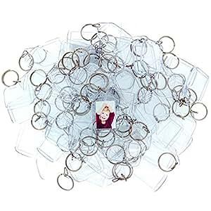 50 Porte-Clés Cadres Photo en Acrylique par Kurtzy - Porte Clé Vierge Transparent 5,4cm x 3,2cm - Porte Clef Compatibles avec Portefeuilles pour des Cadres Photos Personnalisés et Originaux -Porte-Clé Plastique pour les Femmes et les Hommes