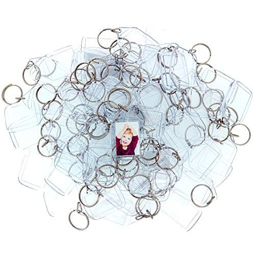 100 Transparente Acryl Foto Schlüsselanhänger von Kurtzy - 5.4cm x 3.2cm Schlüsselring Rohlinge - Brieftaschen freundlicher Schlüsselring für Benutzerdefinierte Personalisierte Bilder - Frauen, Männer (K-cup-coffee-organizer)