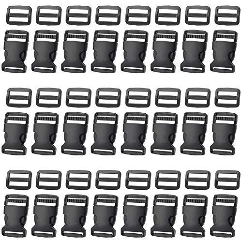 48 Stück 25mm Seitliche Entriegelung Schnallen mit Tri-Glide für Gepäckgurte, Halsband, Rucksackreparatur, Gurtband, Zelt Schwarz -