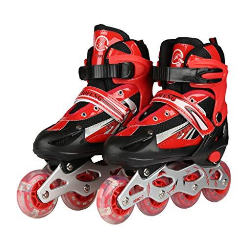 RENYAFEI Verstellbar Inline Skates Rollschuhe Kinder Quad Skate Jugend Rollschuhe 3 Farben Können Wählen 3 Größen Für Alles Kinder,Red,L(38~41EU)