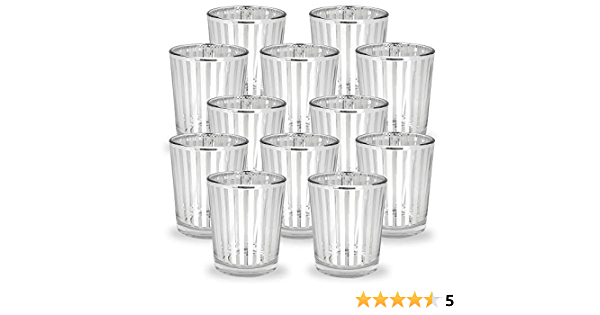 Just Artifacts Glass Votive Candle Holder 2 75 Inch 12pcs Striped Silver Mercury Glass Votive Tealight Candle Holders For Weddings Parties And Home Decor Amazon Co Uk Kitchen Home