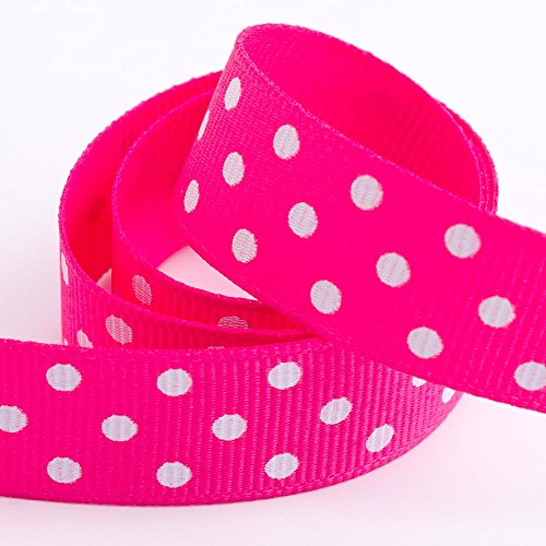 Polka Dot Ripsband – Shocking Pink – 25 mm x 10 m