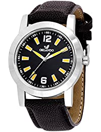 Orlando® Branded Japan Movement With Black Dial & Black Leather Belt & Yellow Highlights Watches For Men - W1304BK03YXZXZ
