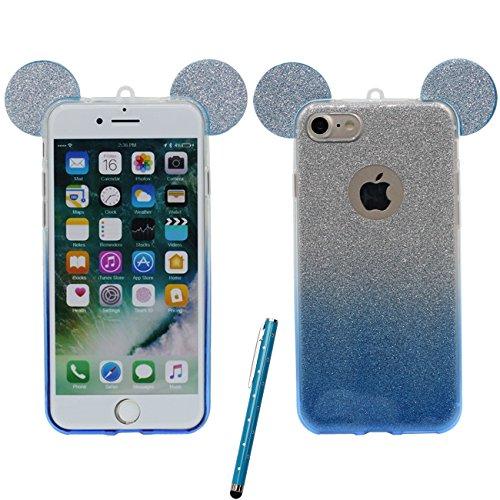 Schutzhülle für iPhone 6S Plus Hülle Hübsch Schön Cartoon Mouse-Ohren Serie Dünn Leicht Weich Silikon Transparent Case Cover für Apple iPhone 6 Plus 6S Plus 5.5 inch X 1 Stylus-Stift blau