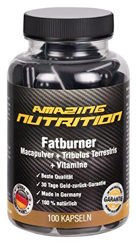 Fatburner-mit-Maca-Pulver-Tribulus-Terrestris-Grn-Tee-Extrakt-Traubenkern-Extrakt-OPC-Koffein-Pfeffer-Extrakt-Vitamine-B1-B2B6-B12-Folsure-Pantothensure-und-Niacin-100-Kapseln-Schnell-Abnehmen-Ideal-F