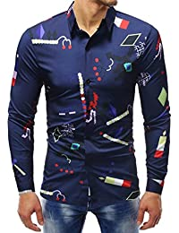 24420aba1a2c 2018 Chemises habillées, GreatestPAK Hommes Chemise à Manches Longues  Imprimé Blouse Chemise Slim Chemisier