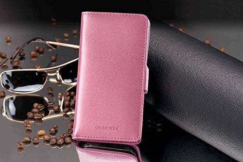 Apple iPhone 5 / 5S / SE Hülle in BRAUN von Cadorabo - Handy-Hülle mit Karten-Fach und Standfunktion Case Cover Schutz-hülle Etui Tasche Book Klapp Style in KAKAO-BRAUN ANTIK-ROSA