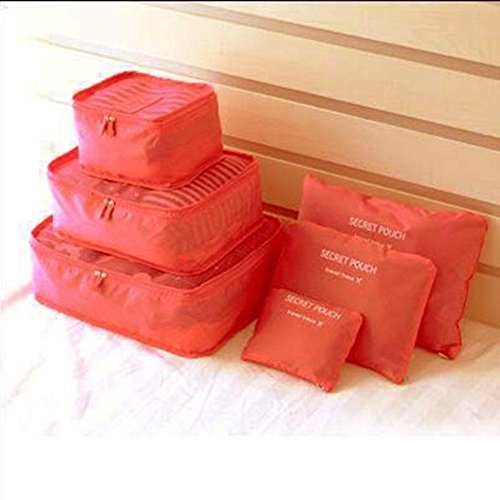 Preisvergleich Produktbild WOOSL Packing Cubes Set für Reisen 6 Stück Verdickung Kleidung wasserdichte Beutel Reise Kleidung Finishing Taschen Sub-Bag 6 Satz , D