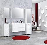 Badmöbel, Badezimmermöbel, Set, Badeinrichtung, Badausstattung, Badezimmereinrichtung, Komplettset, 5-teilig, weiß, Hochglanz, Spiegel