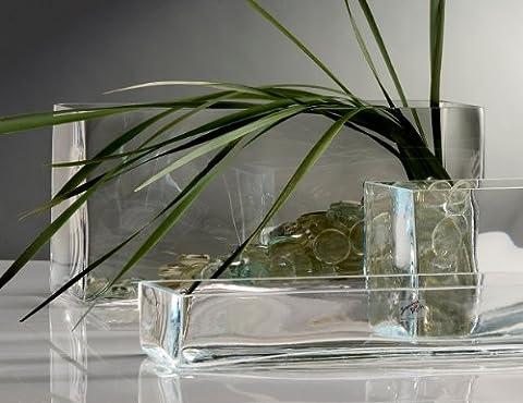 Glasvase Vase Glas Blumenvase Tischvase Glasschale groß rechteckig, 40x18cm (Rechteck Glas)