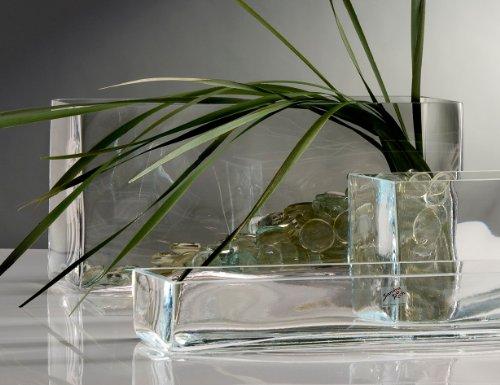 Glasvase Vase Glas Blumenvase Tischvase Glasschale groß rechteckig, 40x18cm