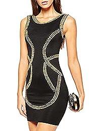 76c43593e005 ABILIO - vestito donna nero tubino aderente abito paillettes vestitino sera  vestito elasticizzato