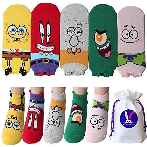 Spongebob Schwammkopf Charakter Knöchel Socken mit Beutel Packung mit 5 Paaren - Thaddäus Tentakel, Mr. Krabs, Patrick Star, Plankton, Squidward Tentacles, SpongeBob SquarePants Sneakersocken (Spongebob Thaddäus)