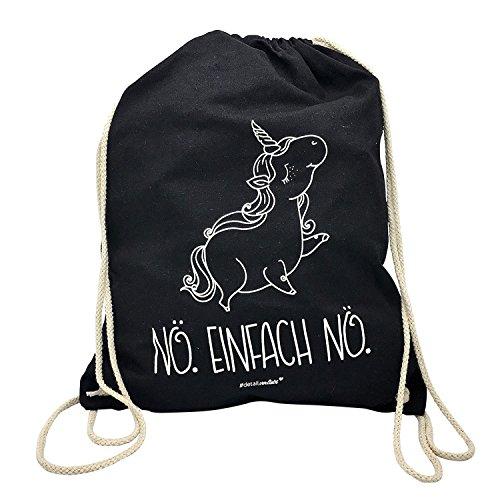 younikat 1 Einhorn Turnbeutel I dv_237 I ca. 37 x 46 cm I Sportbeutel Umhänge-Tasche in schwarz Baumwolle zum Umhängen Zuziehen für Mädchen Kinder Teenager