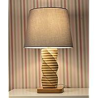 Lámpara de mesilla en madera, hecha a mano - Pantalla IKEA Jära gris