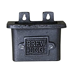 HARDWARE FOR YOU LTD CAST IRON BOTTLE OPENER WALL MOUNTED BREW DOG DRINK CRAFT BEER CAP HOLDER