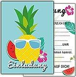 12-er Geburtstag Ananas Melone Cocktail-Party Kindergeburtstag-Einladungskarten Jungen Mädchen Kinder Set Flamingo Hawaii Poolparty Sommer-fest