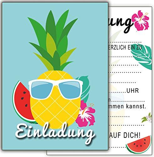 (12-er Geburtstag Ananas Melone Cocktail-Party Kindergeburtstag-Einladungskarten Jungen Mädchen Kinder Set Flamingo Hawaii Poolparty Sommer-fest)