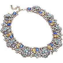 Vintage Collana da Donna Ragazza Matrimonio Festa Regalo con Diamante Luminoso Multicolori Girocollo