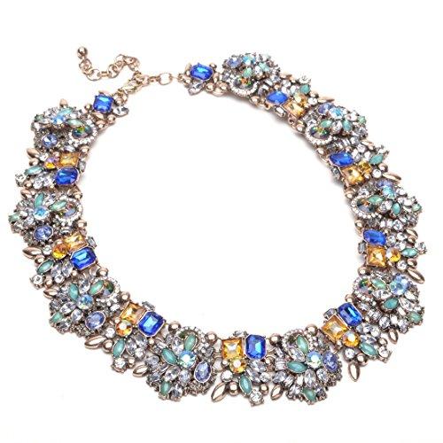 Jerollin Wunderschoene Damen Vintage Halskette mit Rheinstein-Anhaengern Stein-Strauss Weisse Blau Kette Statement Weihnachten Geschenk